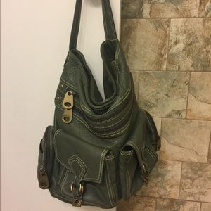 Marc Jacobs Olive Green Pebbled Leather Hobo